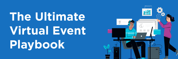 graphic for the virtual event playbook with two people working together